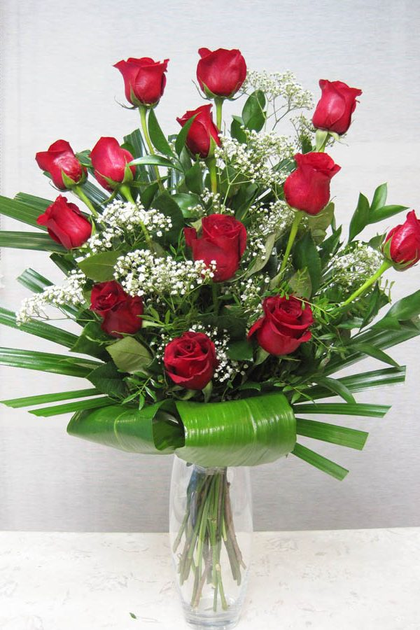Ramo de rosas rojas y verdes especiales